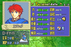 Fire Emblem - FE7if - Character Profile  - my Eliwood stats. - User Screenshot